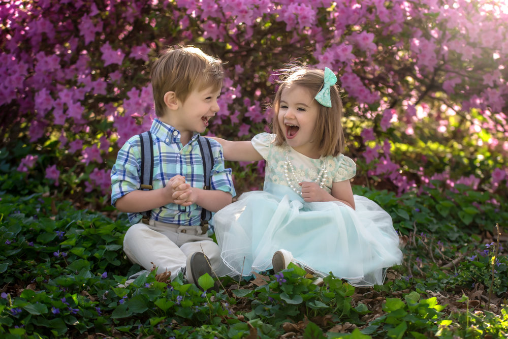 Boy girl twin siblings at Bryan Park Azaela  Garden in Richmond Virginia Easter Portraits
