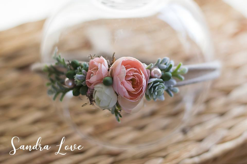 pink light green succulent headband