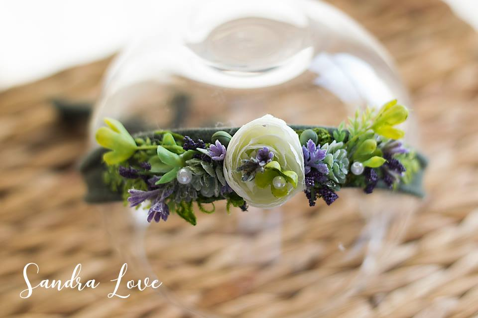purple white succulent headband newborn and sitter