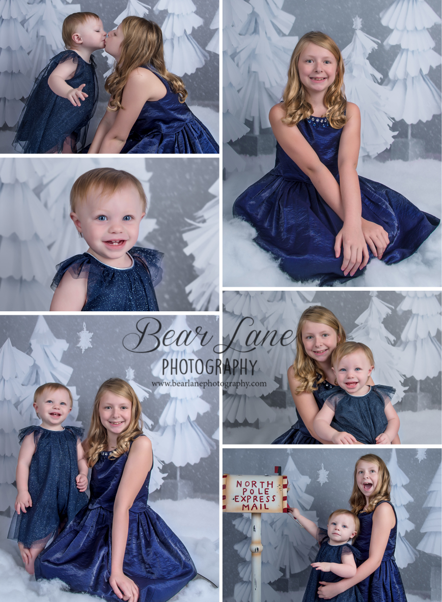 Holiday Mini Session 2016 SnowScape Sisters in blue