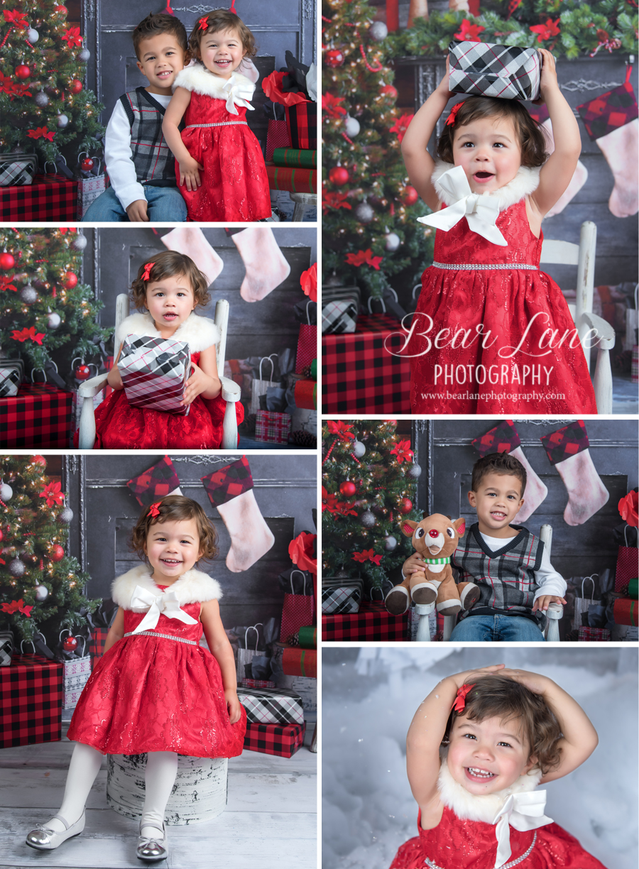 Holiday Mini Session 2016 traditional brother and sister in red and green