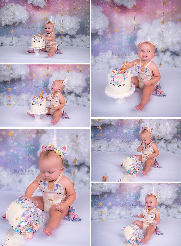 rainbow unicorn girl cake smash with clouds and stars_1
