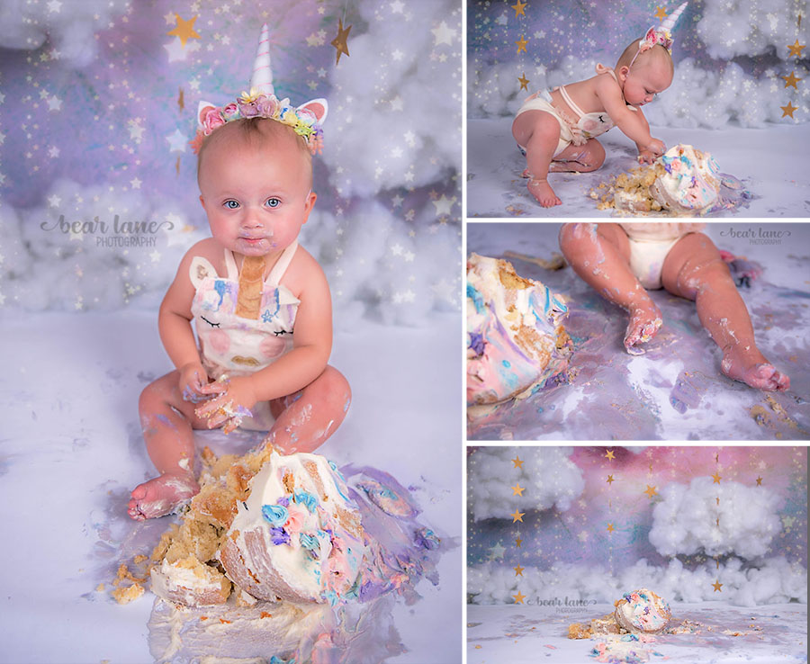 rainbow unicorn girl cake smash with clouds and stars_4