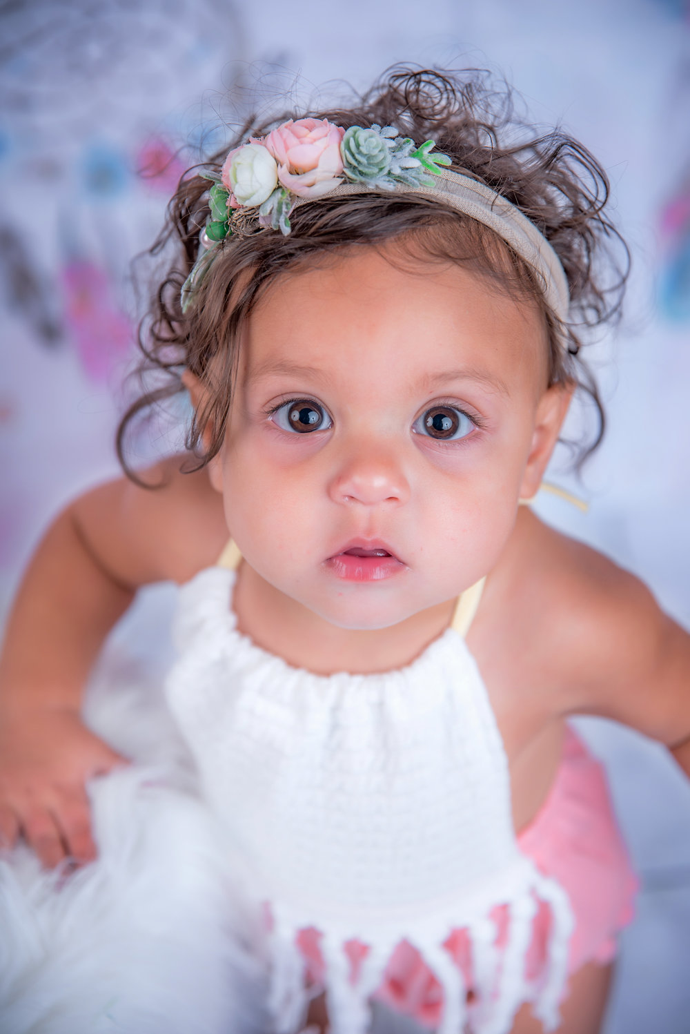 Baby girl with boho head band