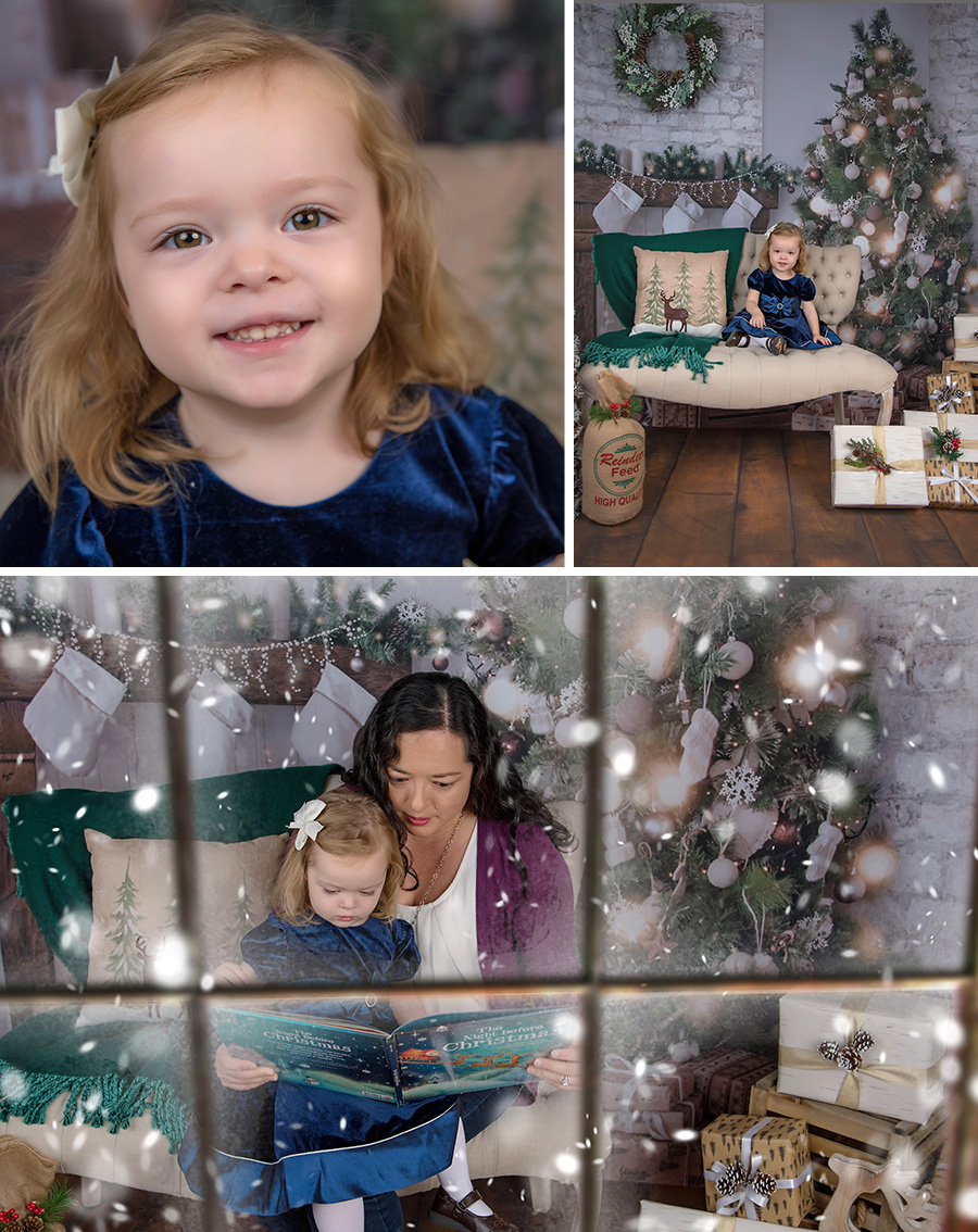 Christmas Mini Session 2017  girl in blue dress