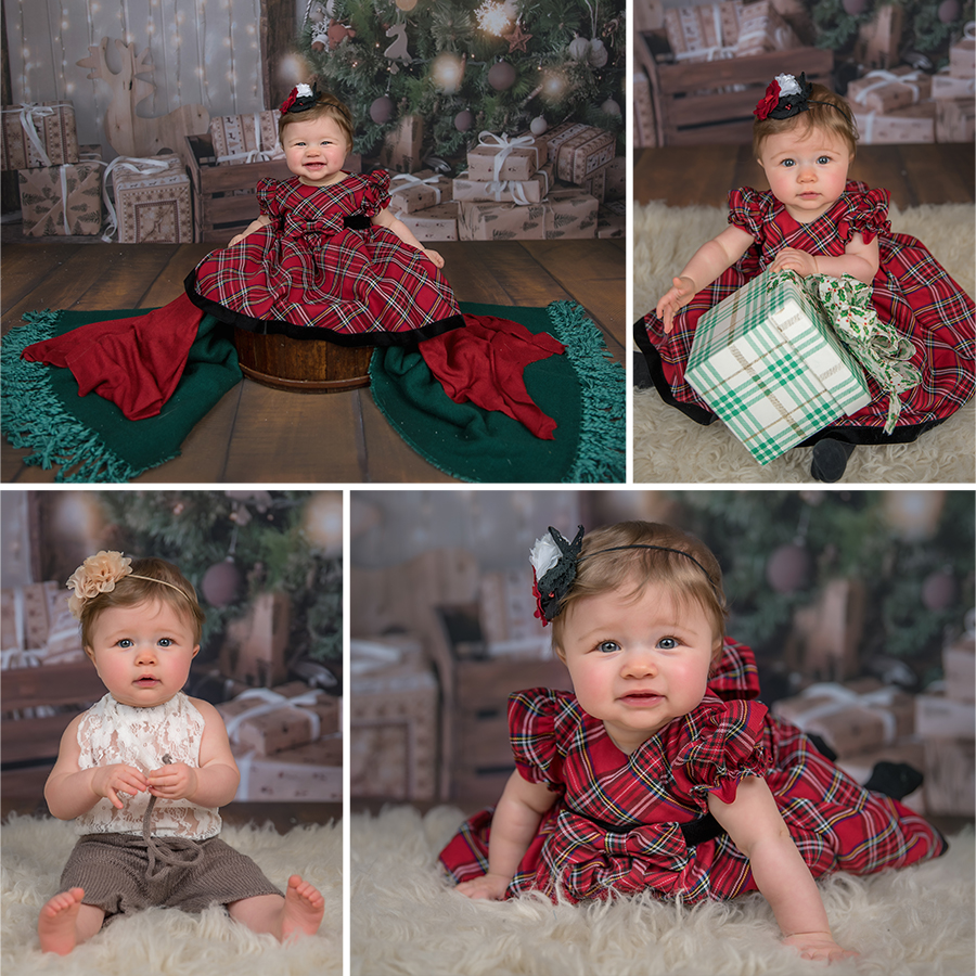 Christmas Mini Session 2017 8 month old baby girl in red plaid