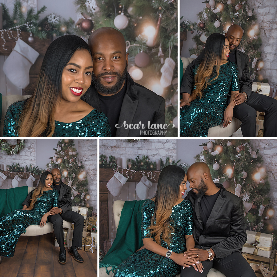 Christmas Mini Session 2017 Couple green sequin gown