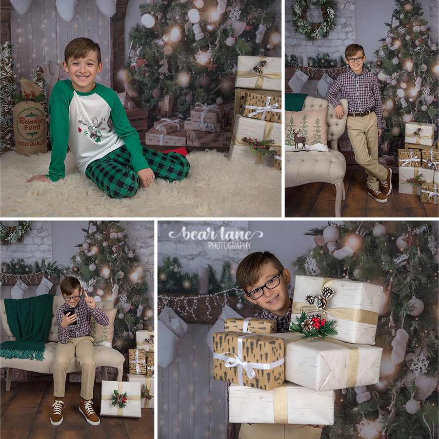 Christmas Mini Session 2017 Older boy in plaid and pajamas