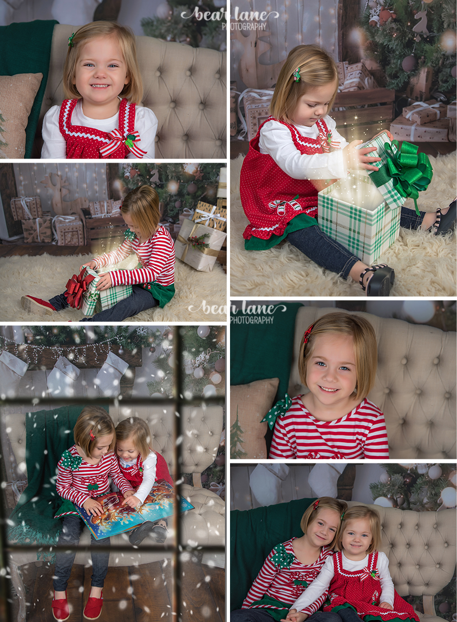 Christmas Mini Session 2017 sisters in red green candy canes