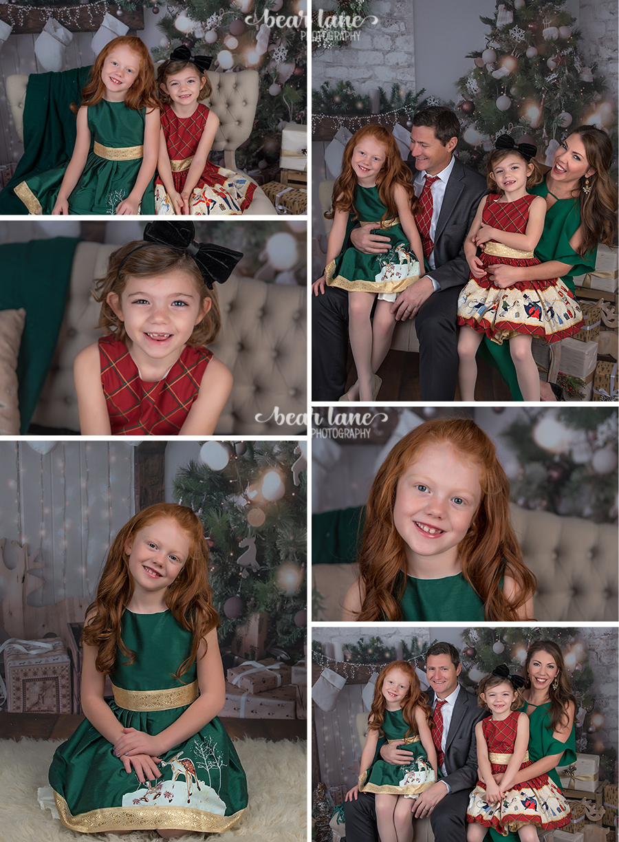 Christmas Mini Session 2017 Family in red and emerald green red haired girl