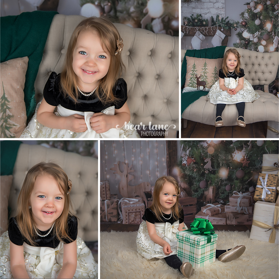 Christmas Mini Session 2017 little girl in black and gold