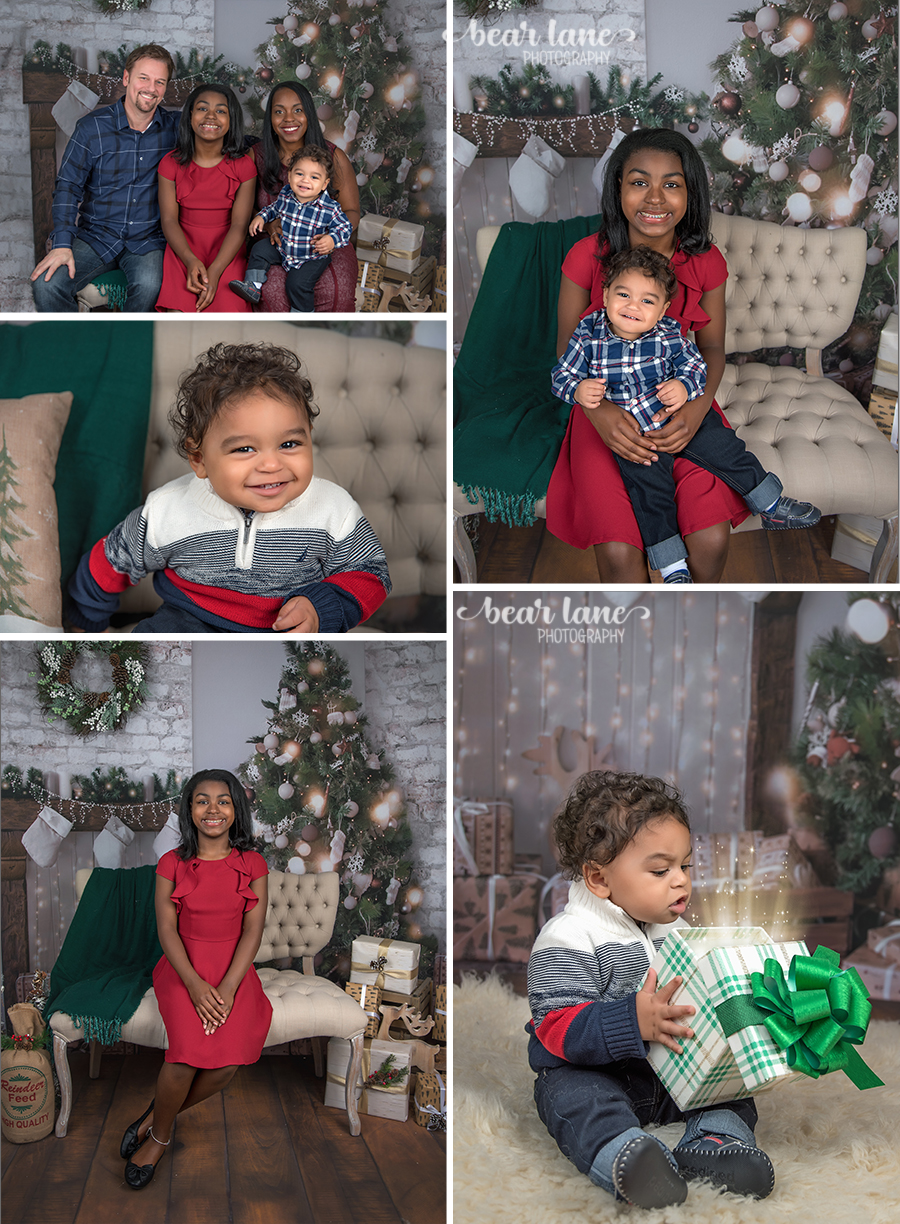 Christmas Mini Session 2017 Family Older girl in red little boy