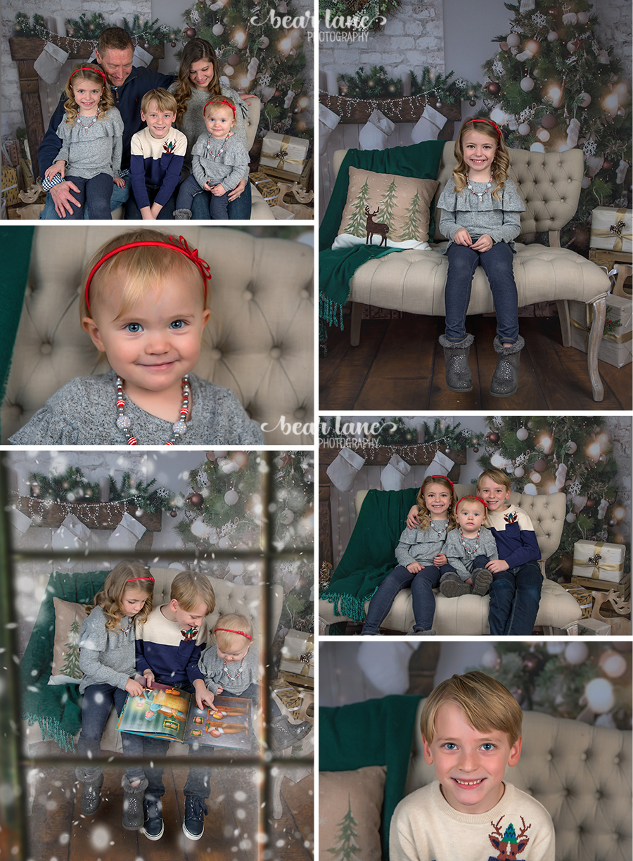 Christmas Mini Session 2017 family of 5 in studio baby girl in gray