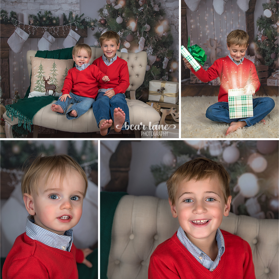Christmas Mini Session 2017 brothers in red sweaters