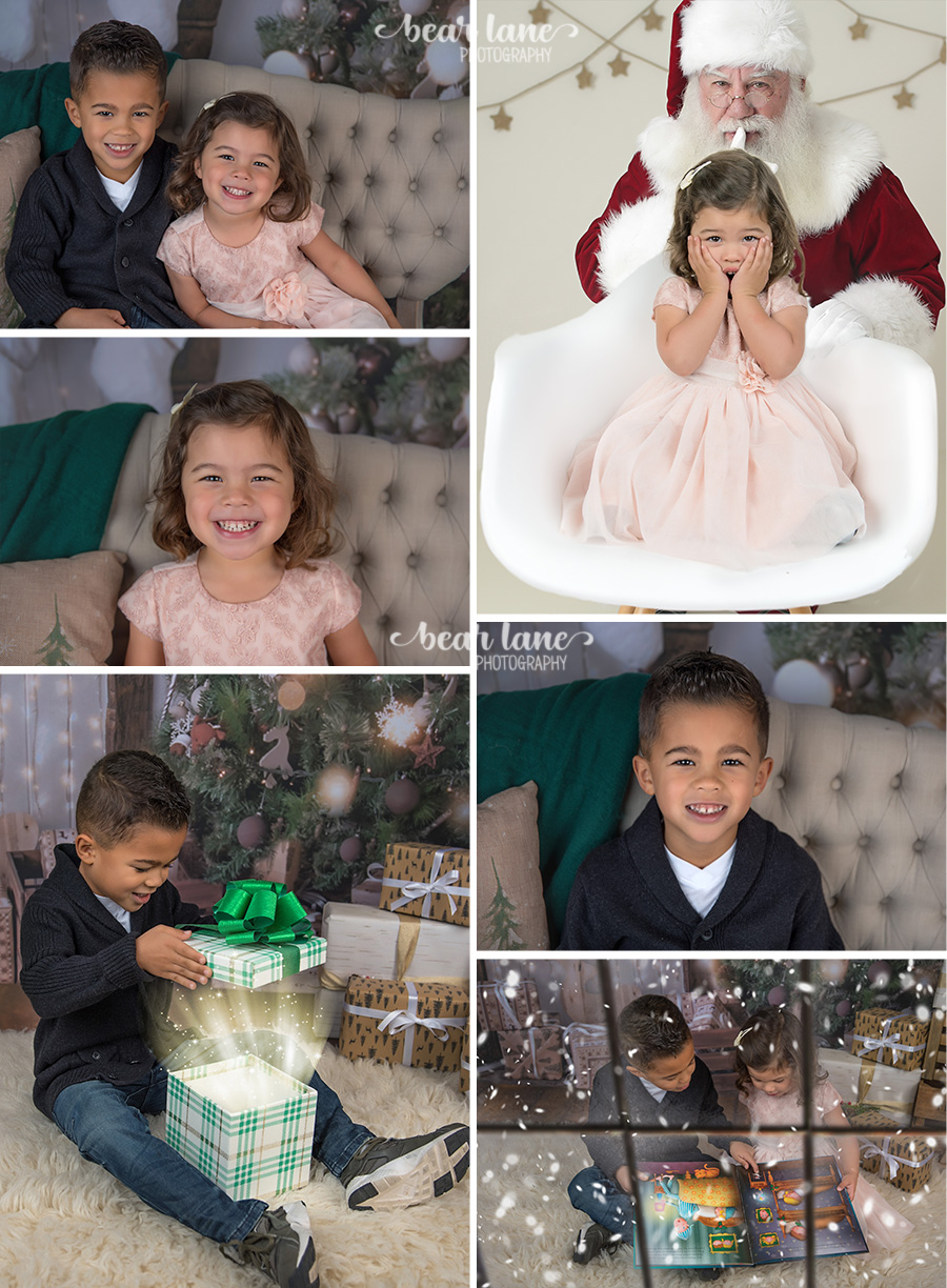 Christmas Mini Session 2017 brother and sister in pink with santa