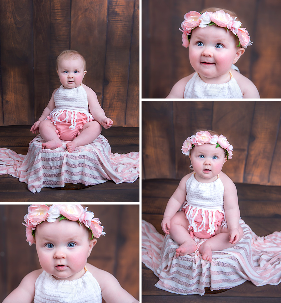 baby girl in pink and white with pink flower bohemian boho halo first birthday