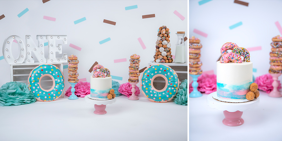 donut cake smash session with sprinkles and watercolor cake