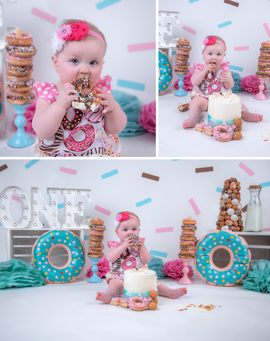 baby girl pink teal and brown donut cake smash session with sprinkles