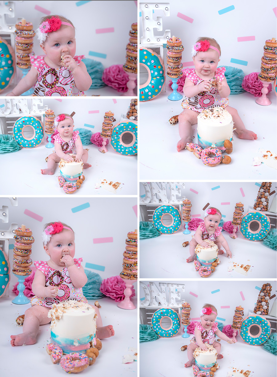 baby girl pink teal and brown donut cake smash session with sprinkles _2