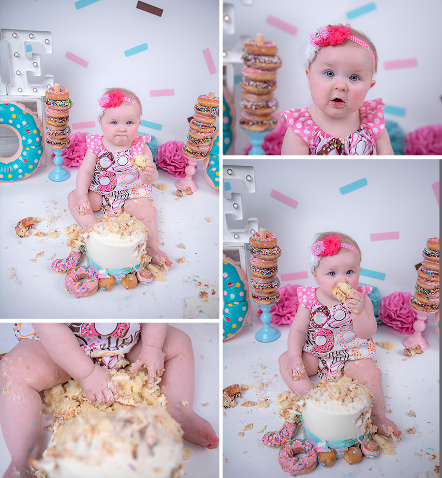 baby girl pink teal and brown donut cake smash session with sprinkles_3