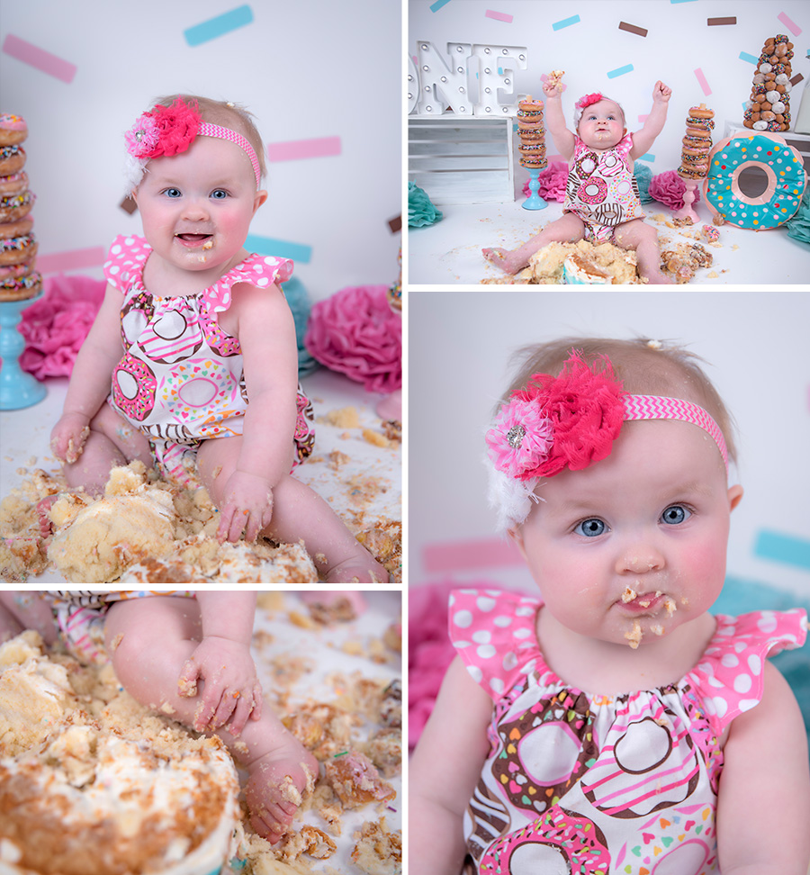 baby girl pink teal and brown donut cake smash session with sprinkles _5