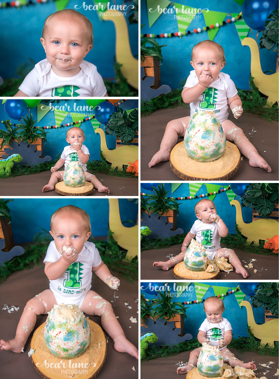 Dinosaur baby boy cake smash with dino egg cake blue orange and green_2
