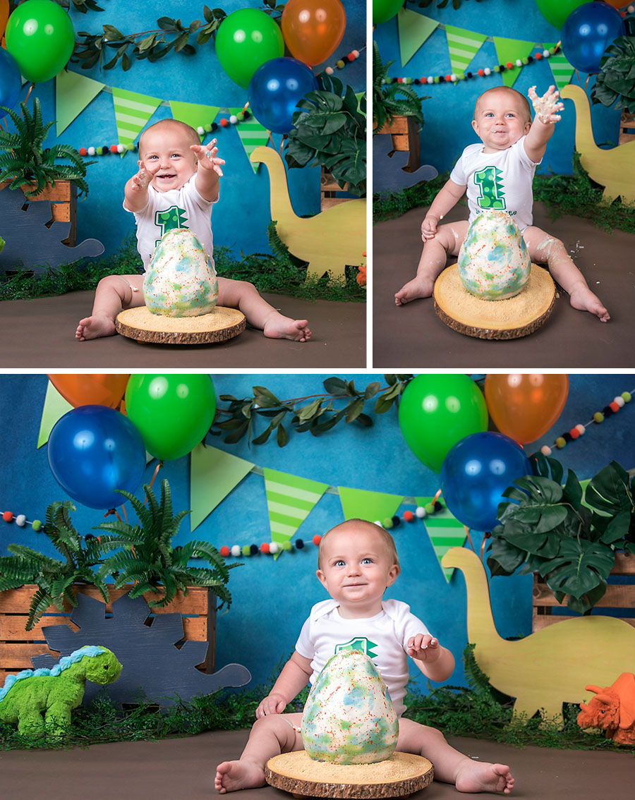 Dinosaur baby boy cake smash with dino egg cake blue orange and green_3
