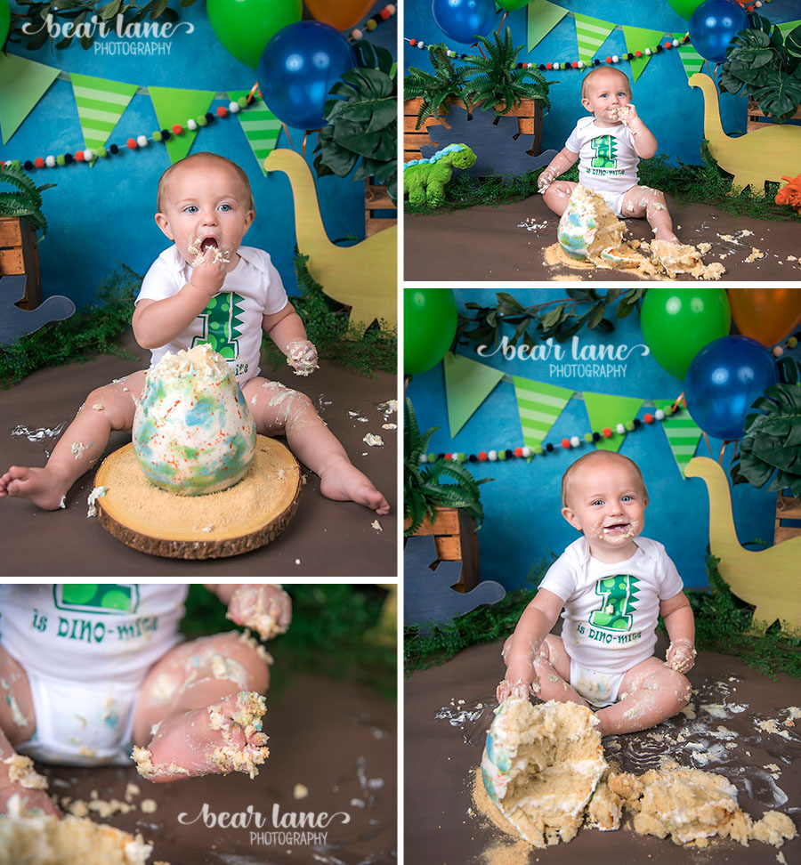 Dinosaur baby boy cake smash with dino egg cake blue orange and green_5