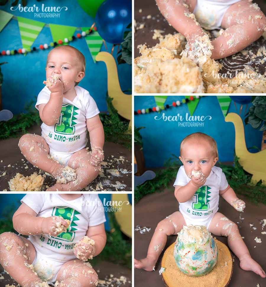 Dinosaur baby boy cake smash with dino egg cake blue orange and green_7