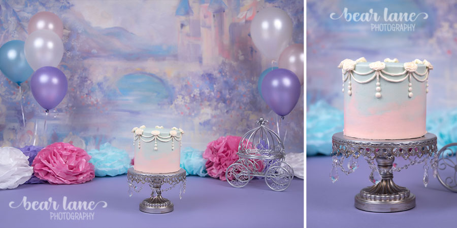 girl Princess castle fairy tale cake smash blue pink purple white silver first birthday