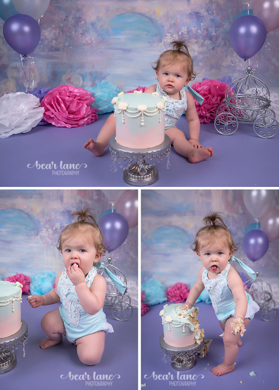 girl Princess castle fairy tale cake smash blue pink purple white silver first birthday_2