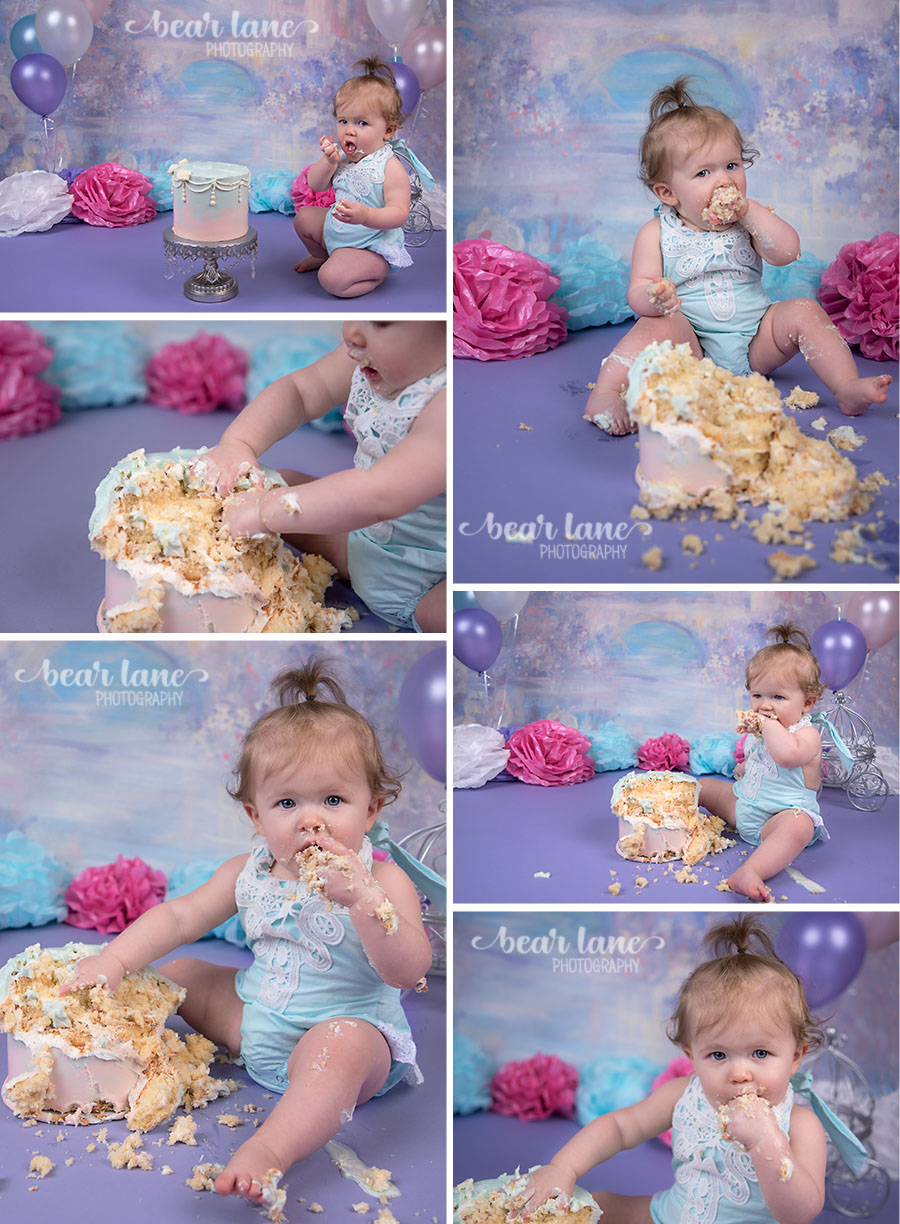 girl Princess castle fairy tale cake smash blue pink purple white silver first birthday_3
