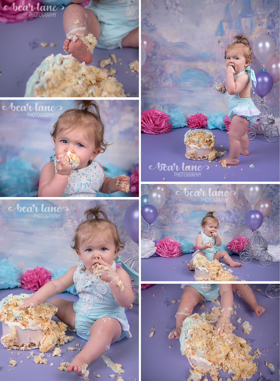 girl Princess castle fairy tale cake smash blue pink purple white silver first birthday_5