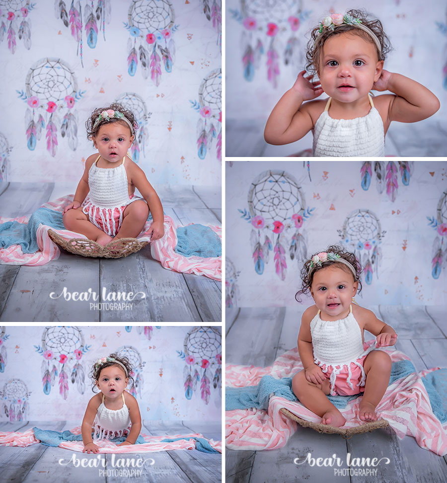 Boho chic dream catcher pink blue and gray baby girl first birthday portrait.jpg