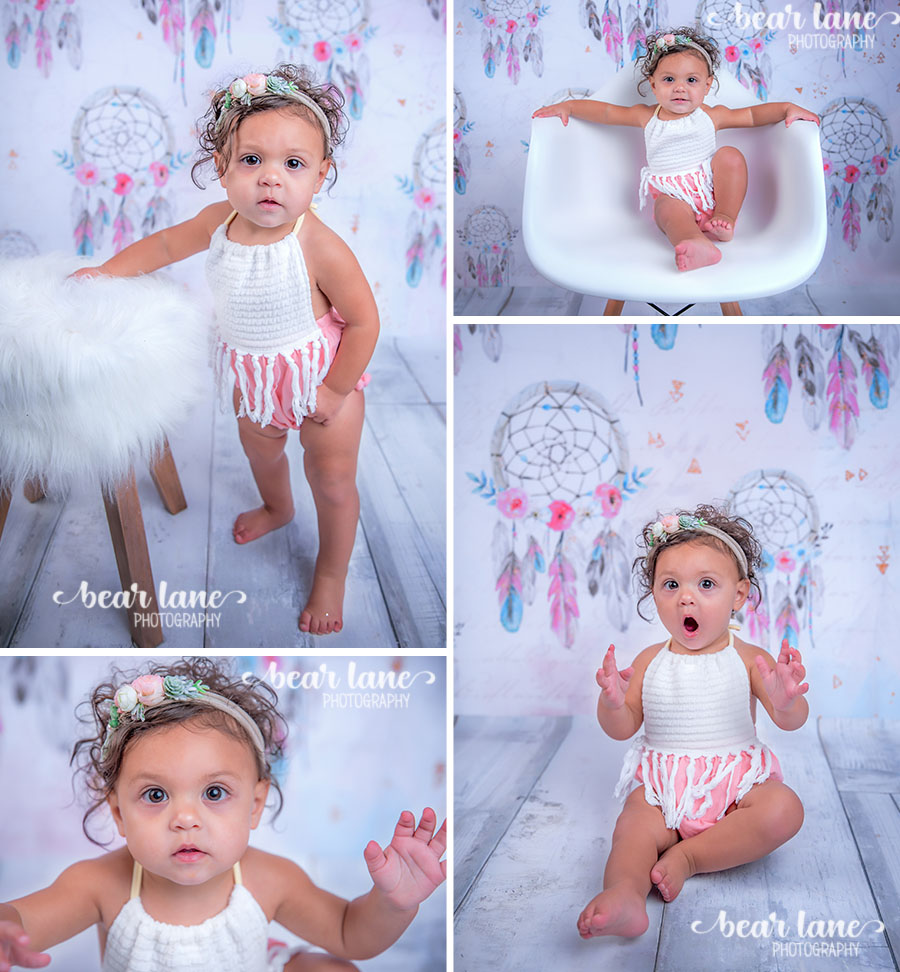 Boho chic dream catcher pink blue and gray baby girl first birthday portrait_3