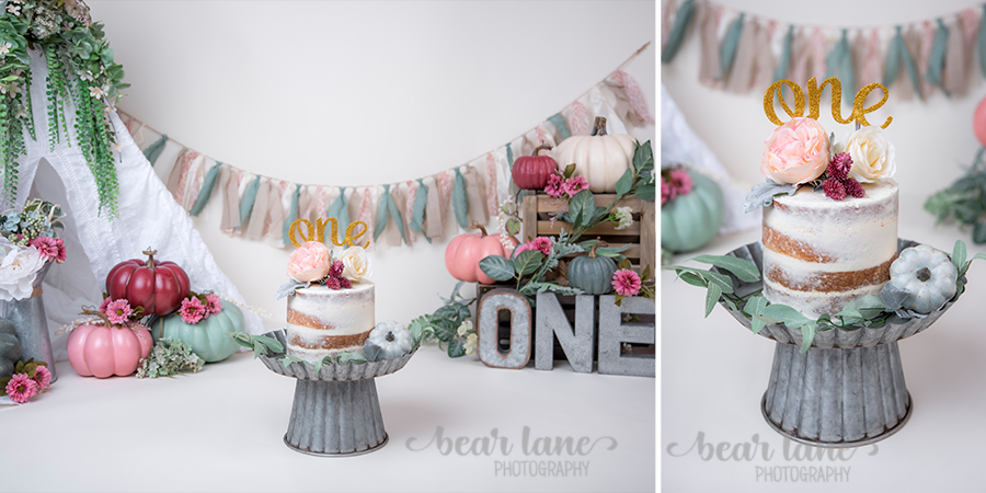 Bohemian Boho chic Pumpkin girl cake smash with metal accents
