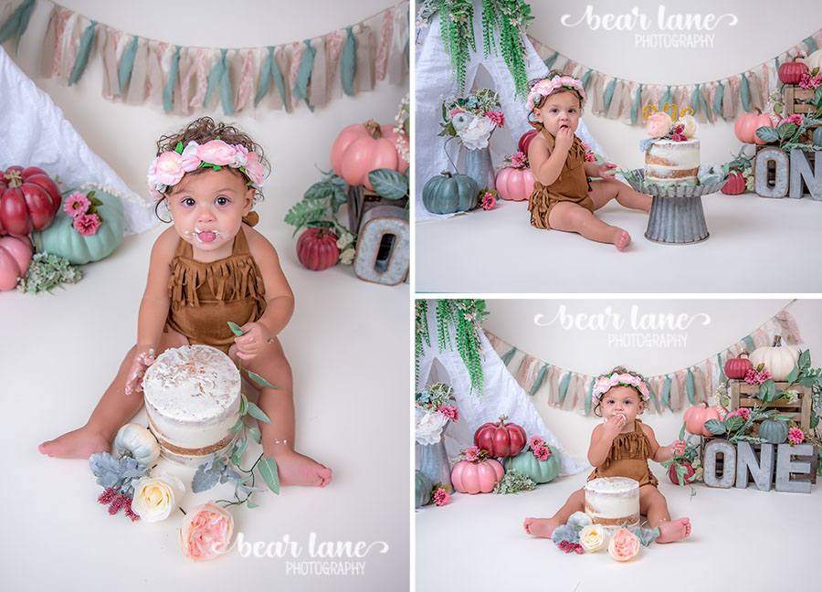 Bohemian Boho chic Pumpkin girl cake smash with metal accents floral crown