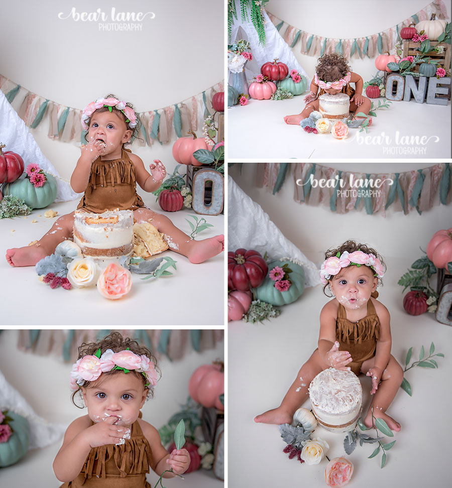 Bohemian Boho chic Pumpkin girl cake smash with metal accents floral crown_2
