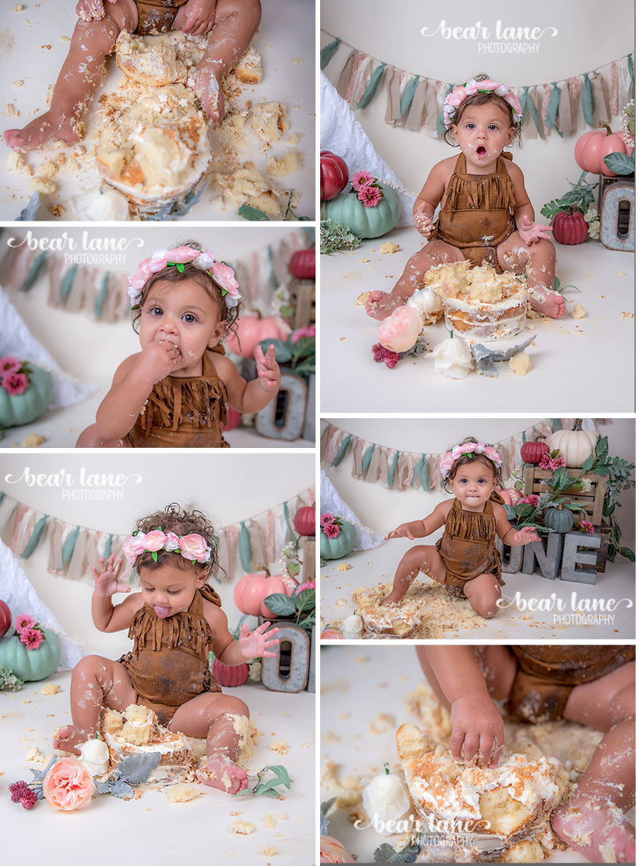 Bohemian Boho chic Pumpkin girl cake smash with metal accents floral crown_5