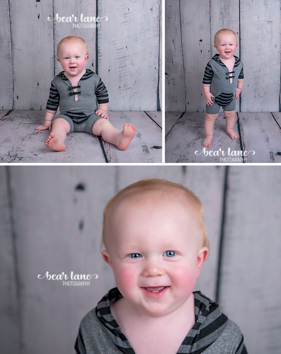baby boy first birthday portrait gray striped rugby romper
