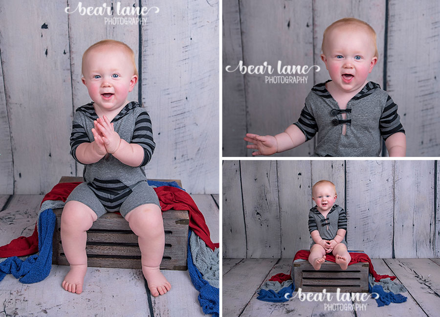 baby boy first birthday portrait gray striped rugby romper_2