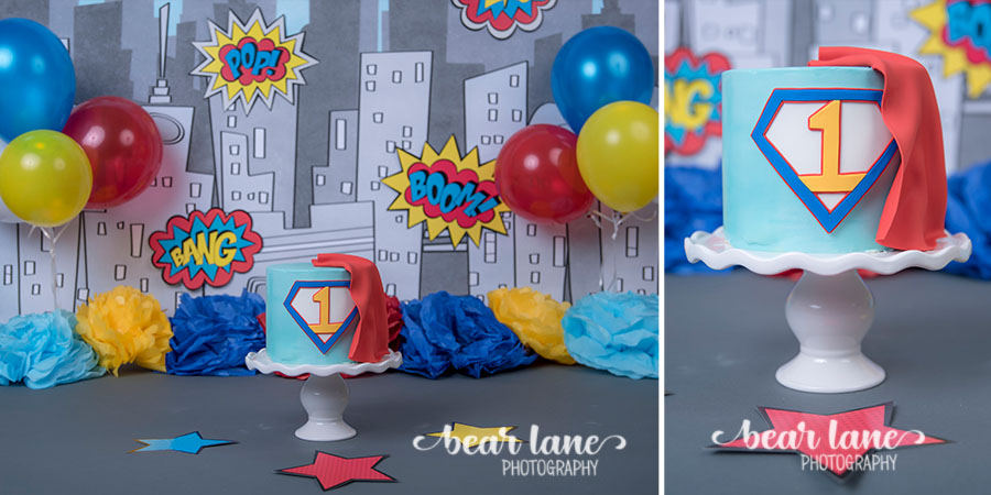 baby boy  blue yellow red Super Hero Cake smash cape superman first birthday cake boom pow comic