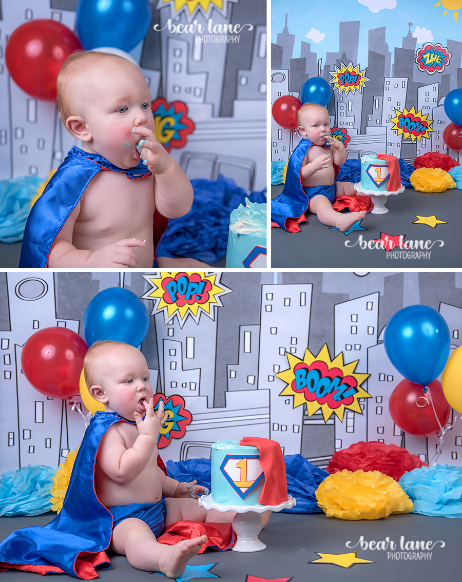 baby boy  blue yellow red Super Hero Cake smash cape superman first birthday cake boom pow comic_2