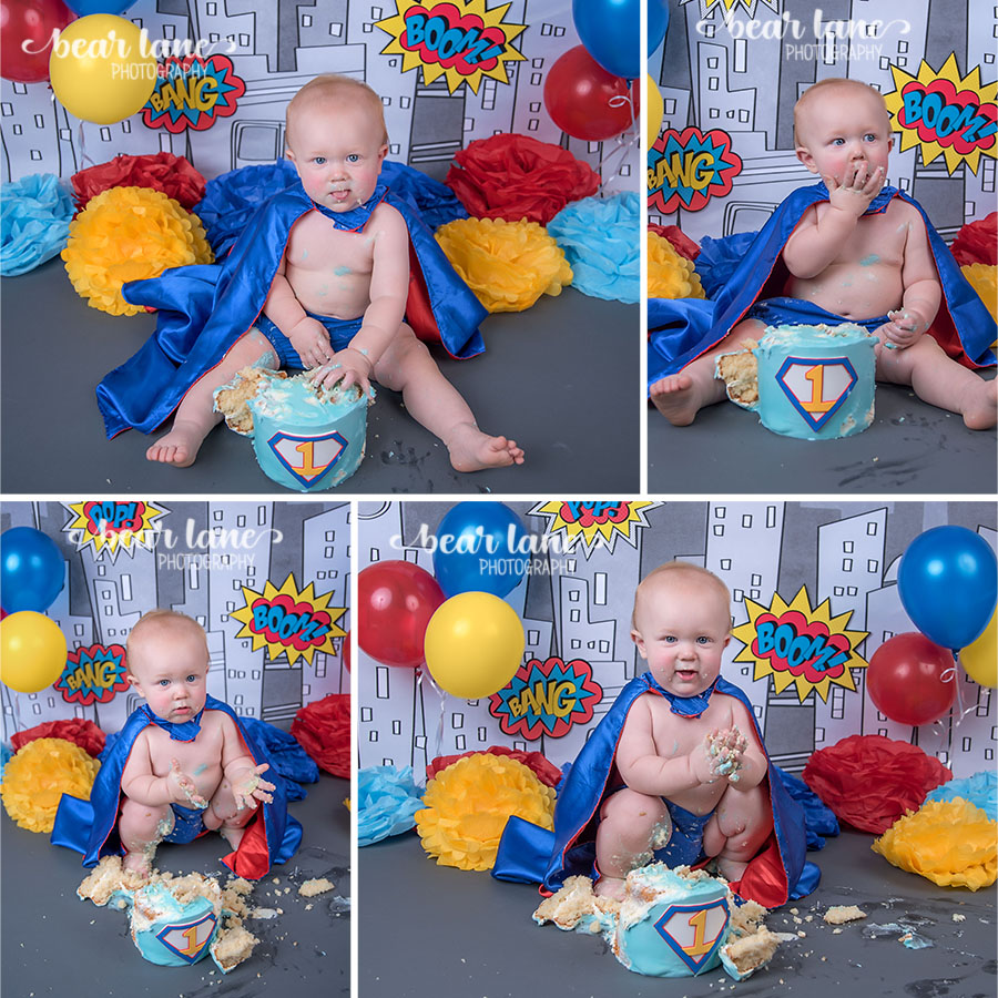baby boy  blue yellow red Super Hero Cake smash cape superman first birthday cake boom pow comic_4
