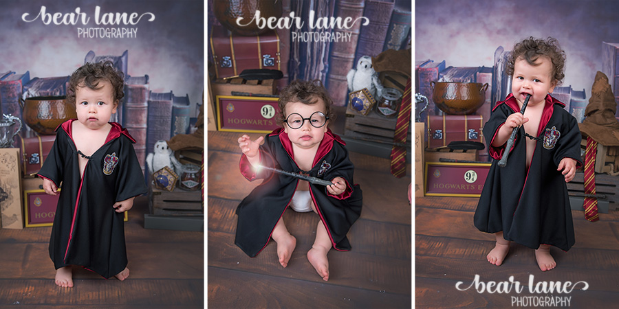 Baby boy first birthday portrait Harry Potter Gryffindor robe Wizard Magic Cake Smash