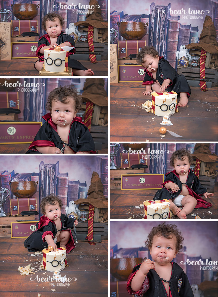 Baby boy first birthday portrait Harry Potter Gryffindor robe Wizard Magic Cake Smash Glasses Snitch and Sorting Hat_1
