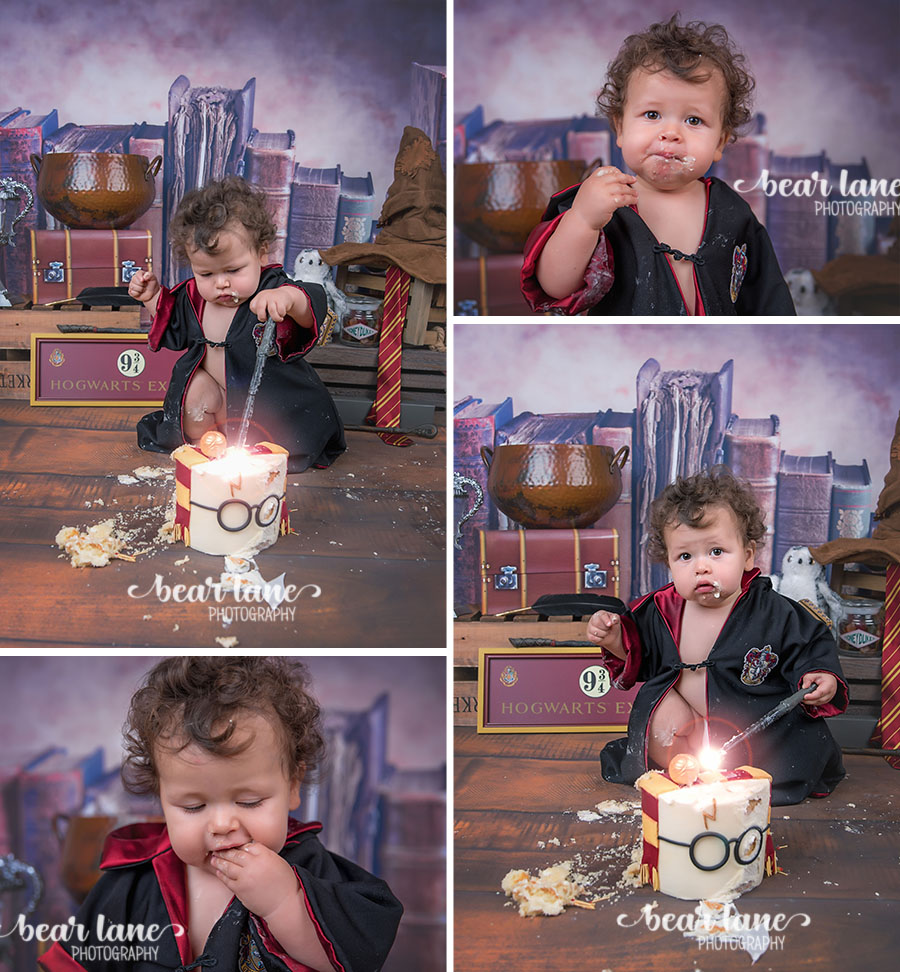 Baby boy first birthday portrait Harry Potter Gryffindor robe Wizard Magic Cake Smash Glasses Snitch and Sorting Hat_2