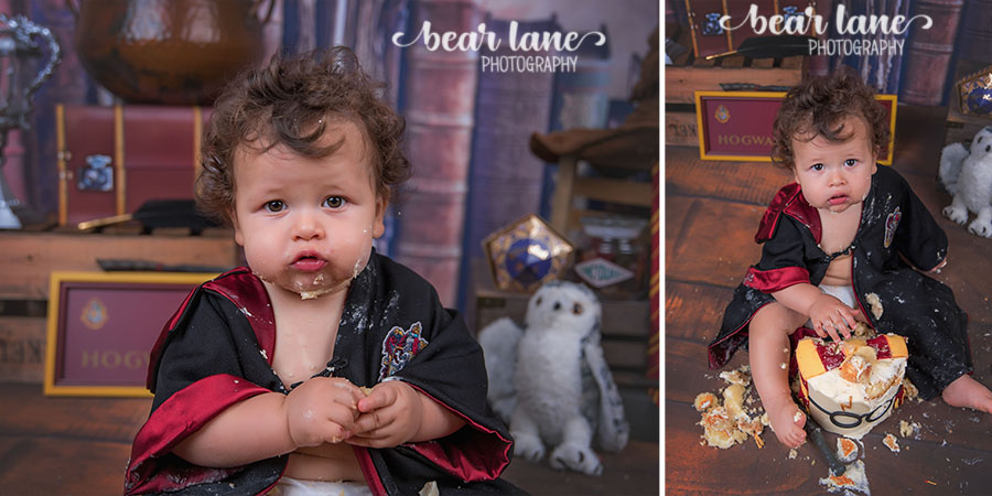 Baby boy first birthday portrait Harry Potter Gryffindor robe Wizard Magic Cake Smash Glasses Snitch and Sorting Hat_5