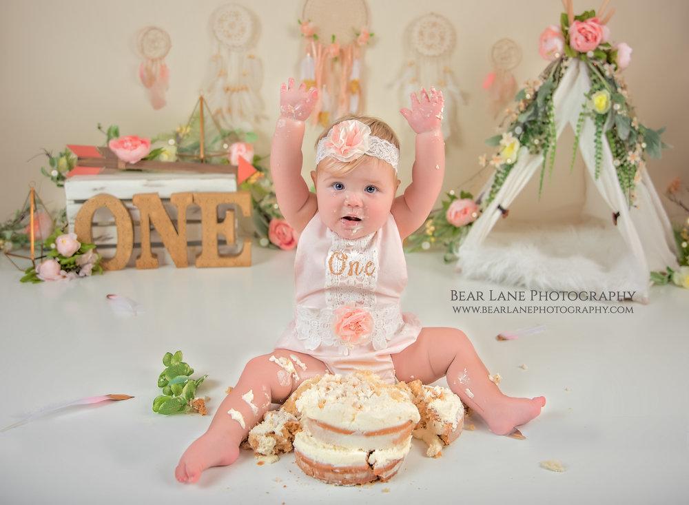 Wild one cake smash - boho floral