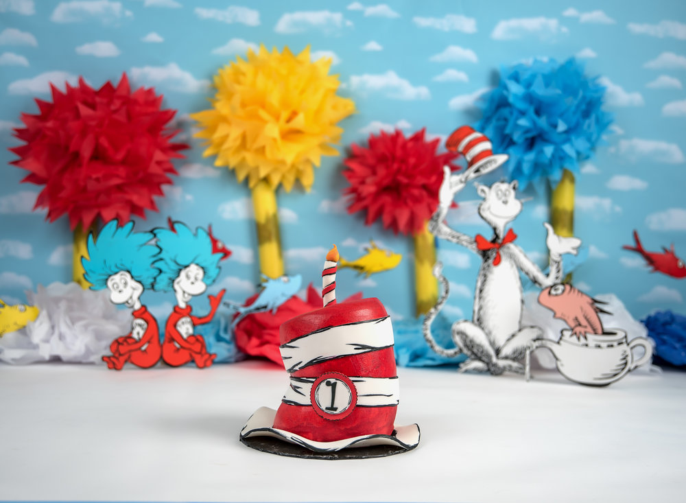 Dr Suess Cake SMash colorful cat in the hat thing one red blue fish